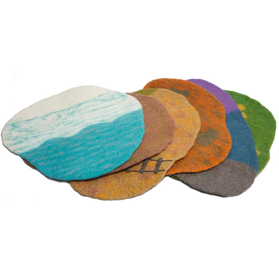 Tapis de paysage en laine feutrée - set de 6