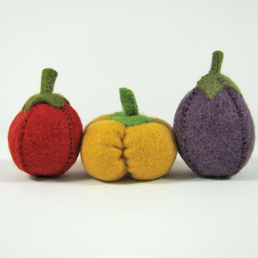 Légumes en laine feutrée - Tomate, poivron, aubergine