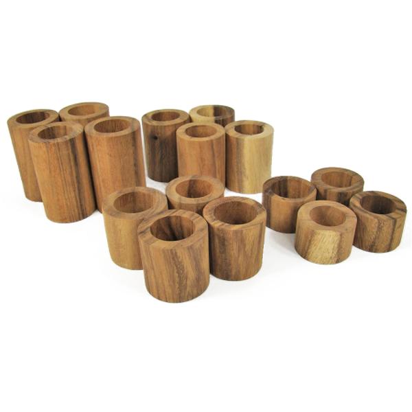 Jeu de construction Tubes en bois - set de 16