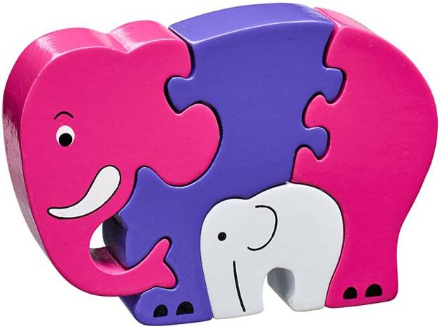 puzzle en bois el phant rose et son b b lanka kade. Black Bedroom Furniture Sets. Home Design Ideas