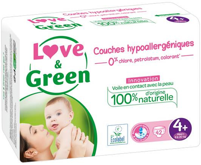 JUMBO Couches jetables écologiques Love & Green Taille 4+ MAXI+ 9-20kg
