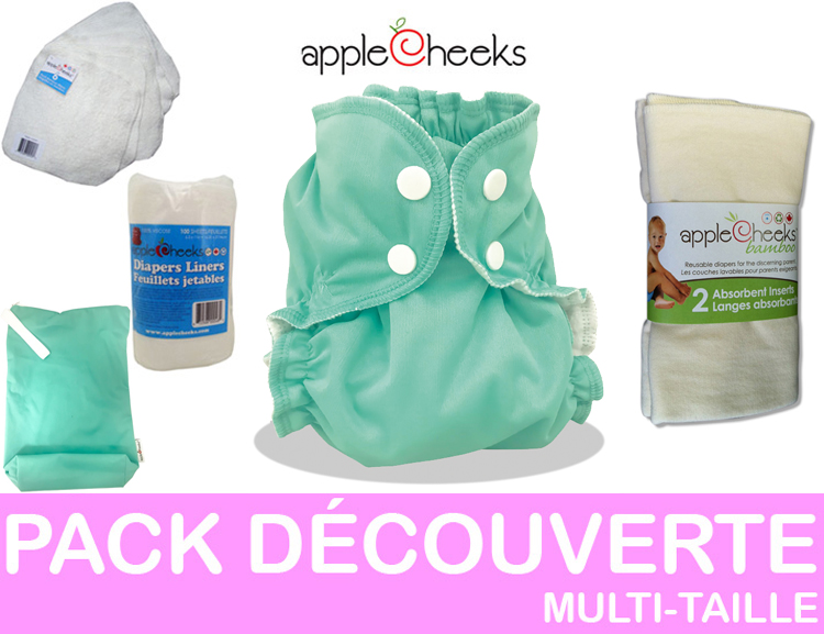 PACK DECOUVERTE couches lavables multi-taille APPLECHEEKS