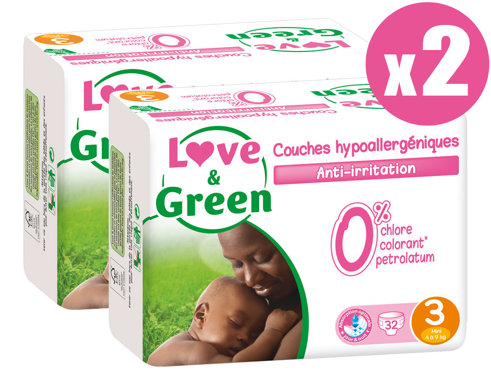 Pack x2 couches jetables écologiques Love & Green Taille 3 MINI 4-9kg