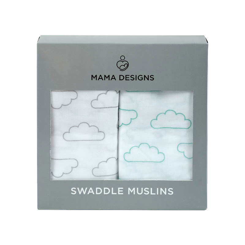 Coffret de 2 grands langes mousseline de coton Nuages Mama Designs