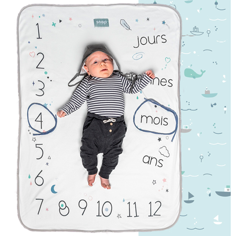 Couverture 2 en 1 Photobooth 100% coton Aqua marine