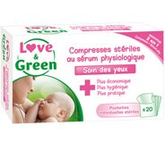 Compresses stériles au sérum physiologique Love & Green
