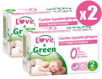 Pack x2 couches jetables écologiques Love & Green Taille 2 MINI 3-6kg