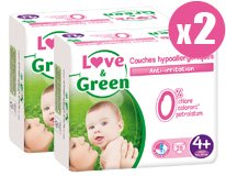 Pack x2 couches jetables écologiques Love & Green Taille 4+ MAXI+ 9-20kg